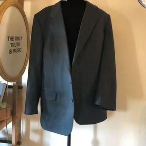 Vintage Jackets & Coats - unisex slouchy bf suit jacket blazer gray blue